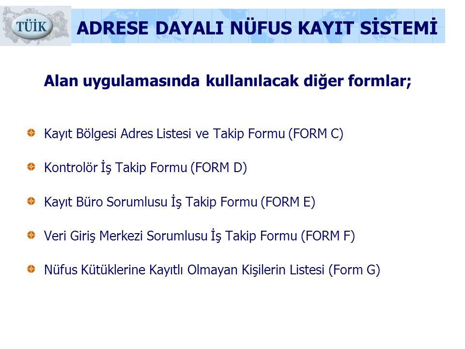 ADRESE DAYALI NÜFUS KAYIT SİSTEMİ Alan uygulamasında kullanılacak diğer formlar; Kayıt Bölgesi Adres Listesi ve Takip Formu (FORM C) Kontrolör İş Taki