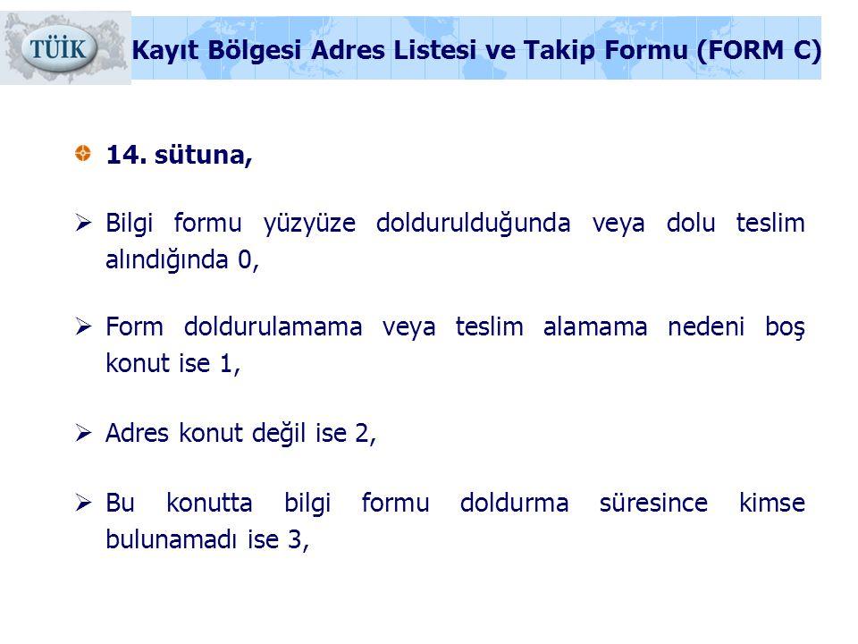 14. sütuna,  Bilgi formu yüzyüze doldurulduğunda veya dolu teslim alındığında 0,  Form doldurulamama veya teslim alamama nedeni boş konut ise 1,  A