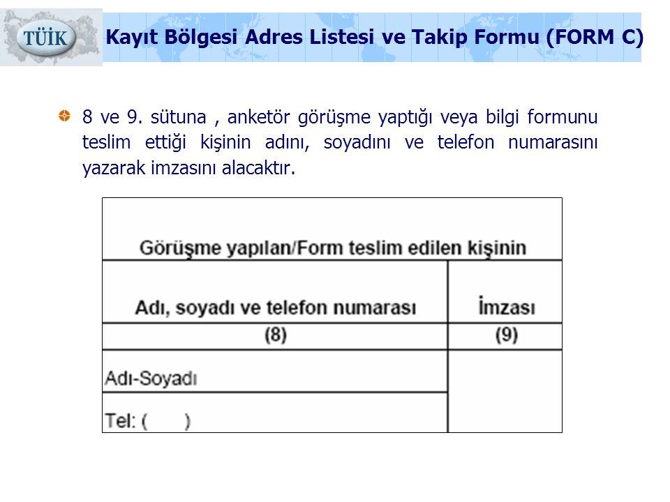 8 ve 9. sütuna, anketör görüşme yaptığı veya bilgi formunu teslim ettiği kişinin adını, soyadını ve telefon numarasını yazarak imzasını alacaktır. Kay