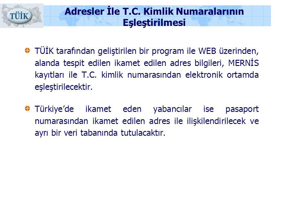 Adresler İle T.C. Kimlik Numaralarının Eşleştirilmesi TÜİK tarafından geliştirilen bir program ile WEB üzerinden, alanda tespit edilen ikamet edilen a
