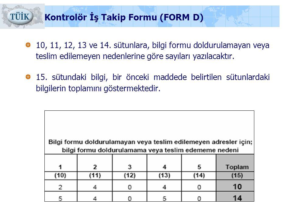 10, 11, 12, 13 ve 14. sütunlara, bilgi formu doldurulamayan veya teslim edilemeyen nedenlerine göre sayıları yazılacaktır. 15. sütundaki bilgi, bir ön