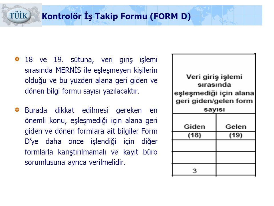18 ve 19. sütuna, veri giriş işlemi sırasında MERNİS ile eşleşmeyen kişilerin olduğu ve bu yüzden alana geri giden ve dönen bilgi formu sayısı yazılac