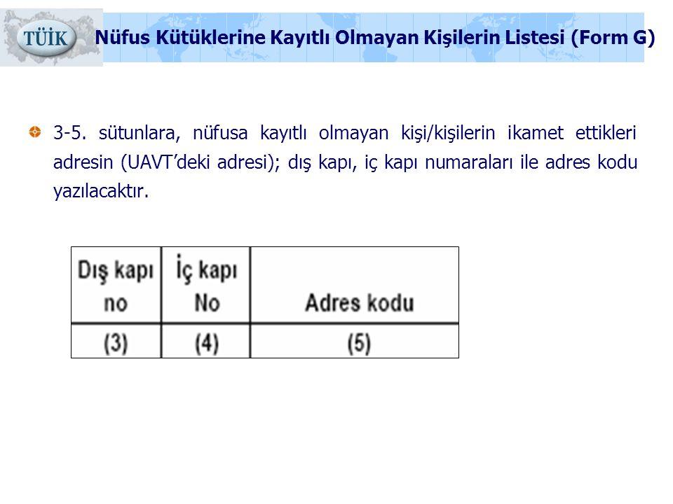 3-5. sütunlara, nüfusa kayıtlı olmayan kişi/kişilerin ikamet ettikleri adresin (UAVT'deki adresi); dış kapı, iç kapı numaraları ile adres kodu yazılac