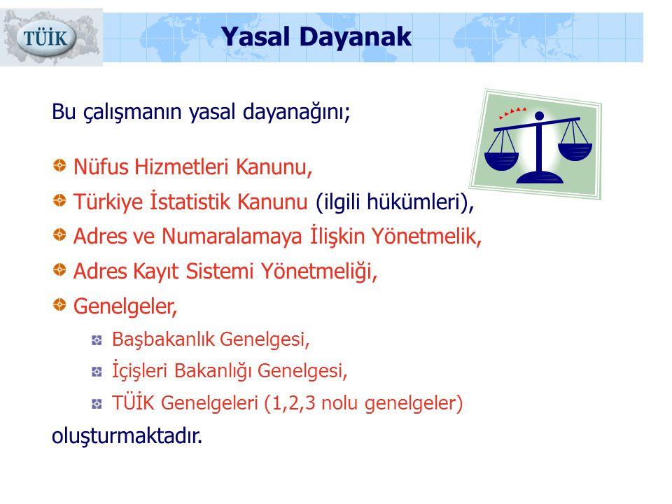 Yasal Dayanak Bu çalışmanın yasal dayanağını; Nüfus Hizmetleri Kanunu, Türkiye İstatistik Kanunu (ilgili hükümleri), Adres ve Numaralamaya İlişkin Yön