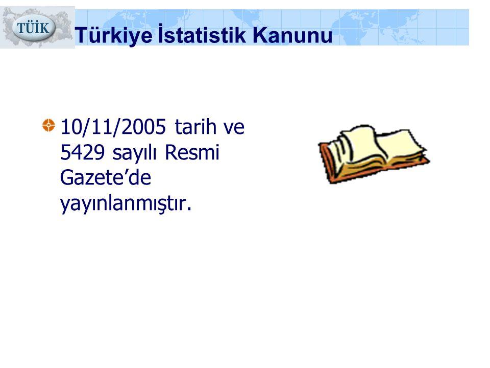 Türkiye İstatistik Kanunu 10/11/2005 tarih ve 5429 sayılı Resmi Gazete'de yayınlanmıştır.