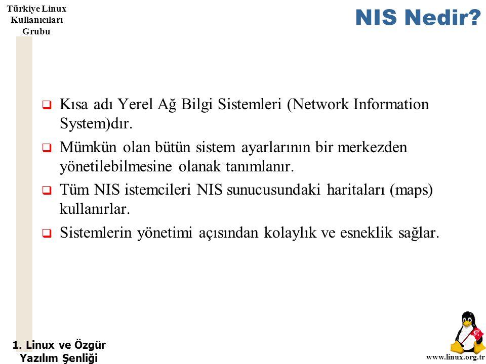 1. Linux ve Özgür Yazılım Şenliği www.linux.org.tr Türkiye Linux Kullanıcıları Grubu NIS Nedir?  Kısa adı Yerel Ağ Bilgi Sistemleri (Network Informat