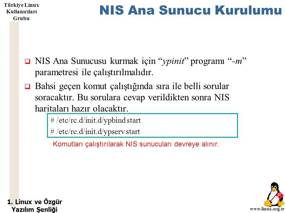 """1. Linux ve Özgür Yazılım Şenliği www.linux.org.tr Türkiye Linux Kullanıcıları Grubu NIS Ana Sunucu Kurulumu  NIS Ana Sunucusu kurmak için """"ypinit"""" p"""