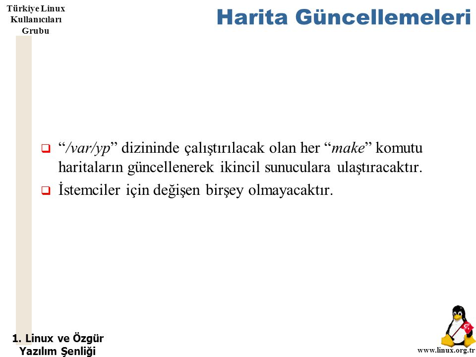 """1. Linux ve Özgür Yazılım Şenliği www.linux.org.tr Türkiye Linux Kullanıcıları Grubu Harita Güncellemeleri  """"/var/yp"""" dizininde çalıştırılacak olan h"""