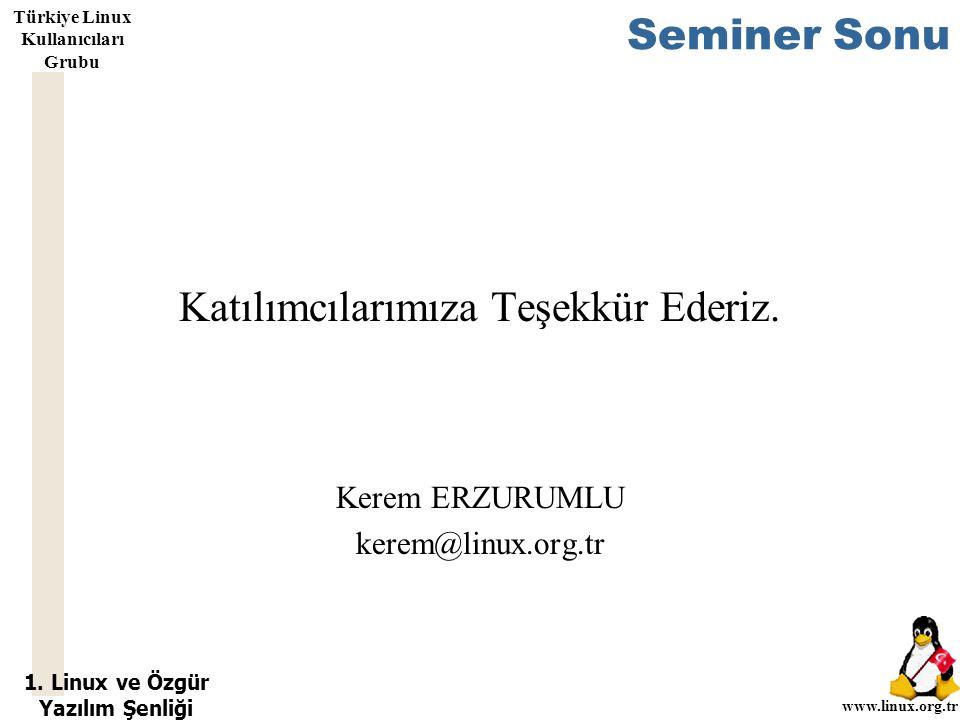 1. Linux ve Özgür Yazılım Şenliği www.linux.org.tr Türkiye Linux Kullanıcıları Grubu Seminer Sonu Katılımcılarımıza Teşekkür Ederiz. Kerem ERZURUMLU k