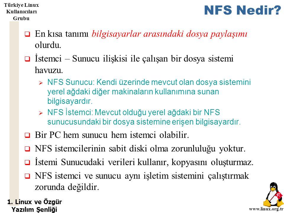 1. Linux ve Özgür Yazılım Şenliği www.linux.org.tr Türkiye Linux Kullanıcıları Grubu NFS Nedir?  En kısa tanımı bilgisayarlar arasındaki dosya paylaş