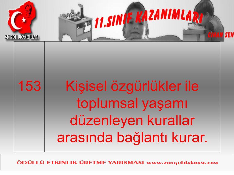 153Kişisel özgürlükler ile toplumsal yaşamı düzenleyen kurallar arasında bağlantı kurar.