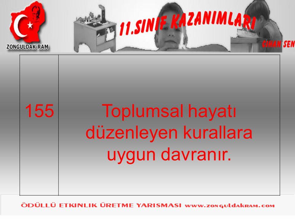 155Toplumsal hayatı düzenleyen kurallara uygun davranır.
