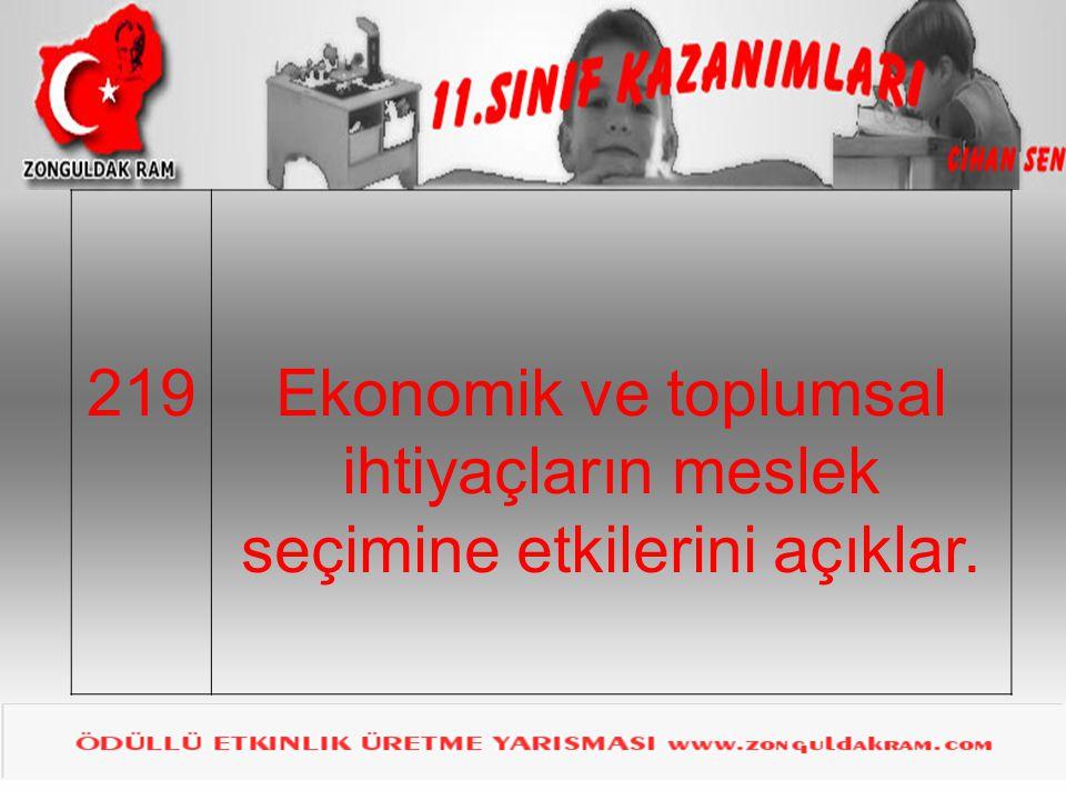 219Ekonomik ve toplumsal ihtiyaçların meslek seçimine etkilerini açıklar.