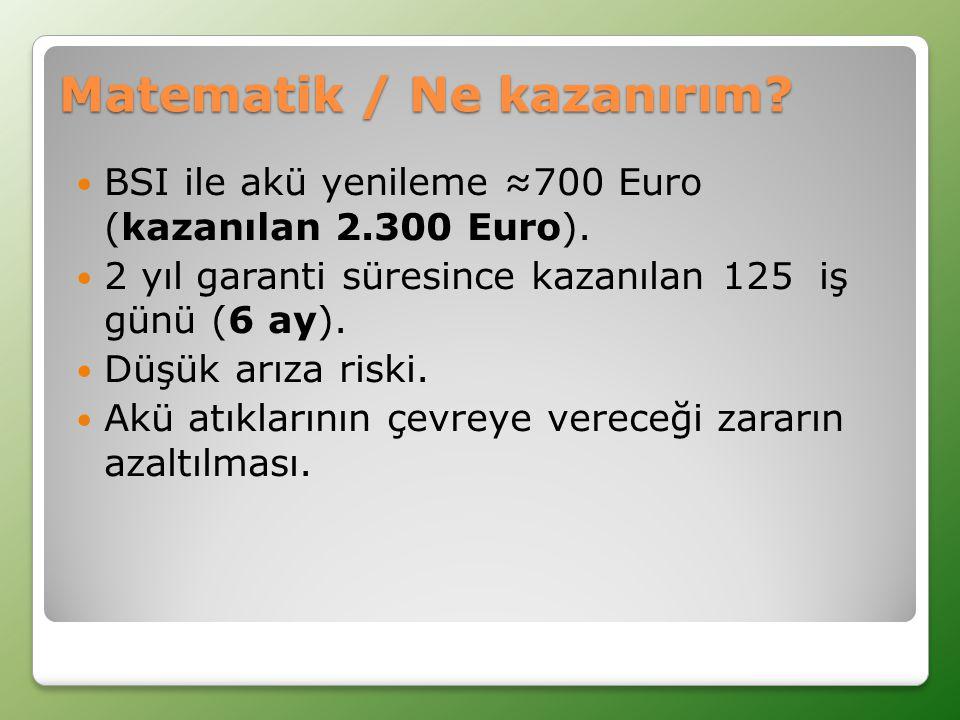 Matematik / Ne kazanırım. BSI ile akü yenileme ≈700 Euro (kazanılan 2.300 Euro).