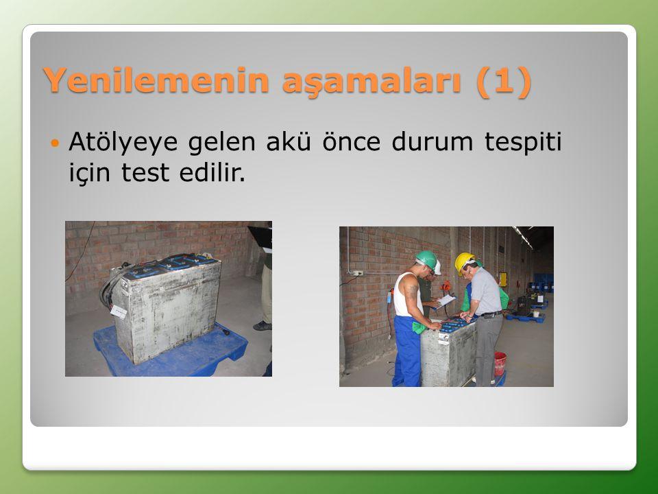 Yenilemenin aşamaları (1)  Atölyeye gelen akü önce durum tespiti için test edilir.