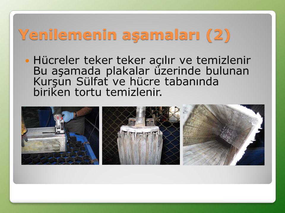 Yenilemenin aşamaları (2)  Hücreler teker teker açılır ve temizlenir Bu aşamada plakalar üzerinde bulunan Kurşun Sülfat ve hücre tabanında biriken tortu temizlenir.