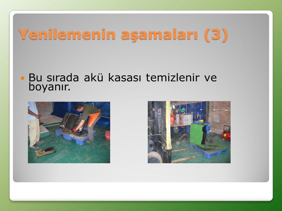  Bu sırada akü kasası temizlenir ve boyanır. Yenilemenin aşamaları (3)