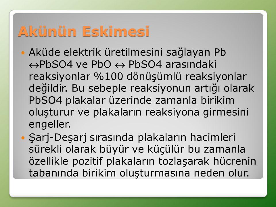 Akünün Eskimesi  Aküde elektrik üretilmesini sağlayan Pb PbSO4 ve PbO  PbSO4 arasındaki reaksiyonlar %100 dönüşümlü reaksiyonlar değildir.