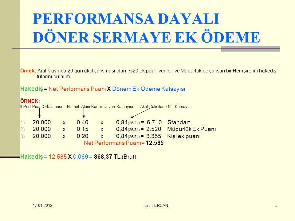 17.01.2012 Eren ERCAN4 PERFORMANSA DAYALI DÖNER SERMAYE EK ÖDEME O dönem görev yapan muayene komisyonu üyeleri için il performans puan ortalamasının %5'i, ihale-satın alma komisyonu üyelerine il performans puan ortalamasının %10' u oranında ek puan verilir.