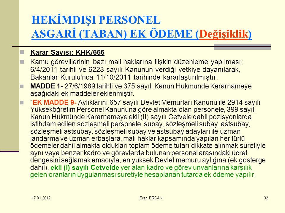 17.01.2012 Eren ERCAN32 HEKİMDIŞI PERSONEL ASGARİ (TABAN) EK ÖDEME (Değişiklik)  Karar Sayısı: KHK/666  Kamu görevlilerinin bazı mali haklarına iliş