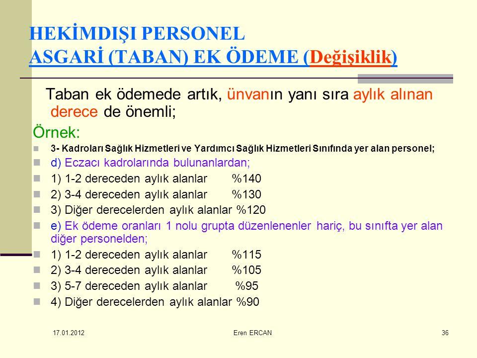 17.01.2012 Eren ERCAN36 HEKİMDIŞI PERSONEL ASGARİ (TABAN) EK ÖDEME (Değişiklik) Taban ek ödemede artık, ünvanın yanı sıra aylık alınan derece de öneml