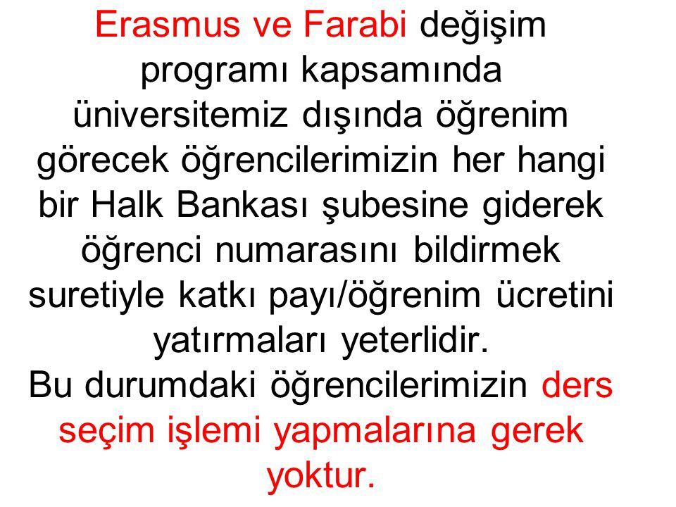 Erasmus ve Farabi değişim programı kapsamında üniversitemiz dışında öğrenim görecek öğrencilerimizin her hangi bir Halk Bankası şubesine giderek öğren