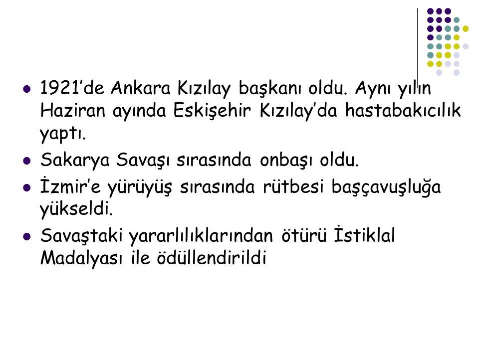  1921'de Ankara Kızılay başkanı oldu.