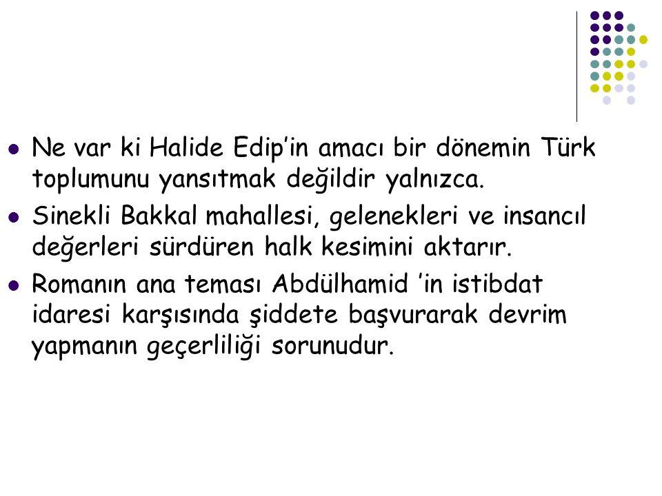  Ne var ki Halide Edip'in amacı bir dönemin Türk toplumunu yansıtmak değildir yalnızca.