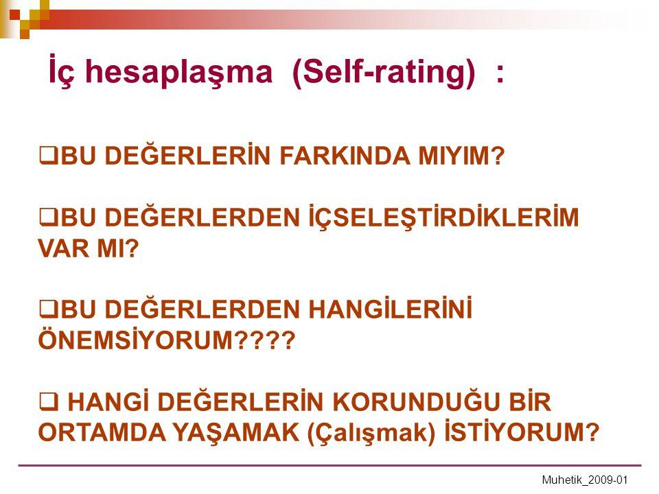 İç hesaplaşma (Self-rating) :  BU DEĞERLERİN FARKINDA MIYIM?  BU DEĞERLERDEN İÇSELEŞTİRDİKLERİM VAR MI?  BU DEĞERLERDEN HANGİLERİNİ ÖNEMSİYORUM????
