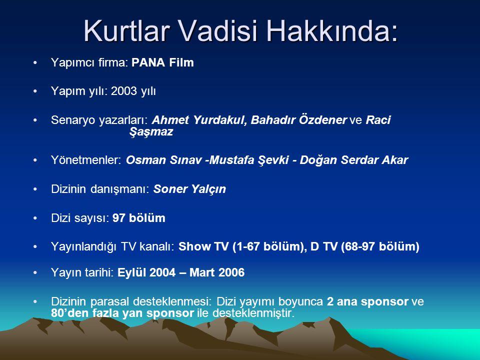 Kurtlar Vadisi Hakkında: •Yapımcı firma: PANA Film •Yapım yılı: 2003 yılı •Senaryo yazarları: Ahmet Yurdakul, Bahadır Özdener ve Raci Şaşmaz •Yönetmen