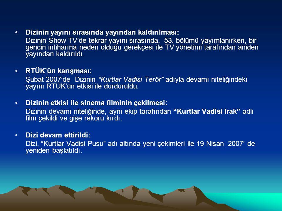 Dizinin konusu •Dizide, Türkiye nin sokaklarından başlayıp, belli bir hiyerarşik bütünlük içinde kademe kademe yükselen ve en tepede son derece güçlü ve tehlikeli bir mafya baronları konseyine dönüşen ve dış ülkelerce (A.B.D.