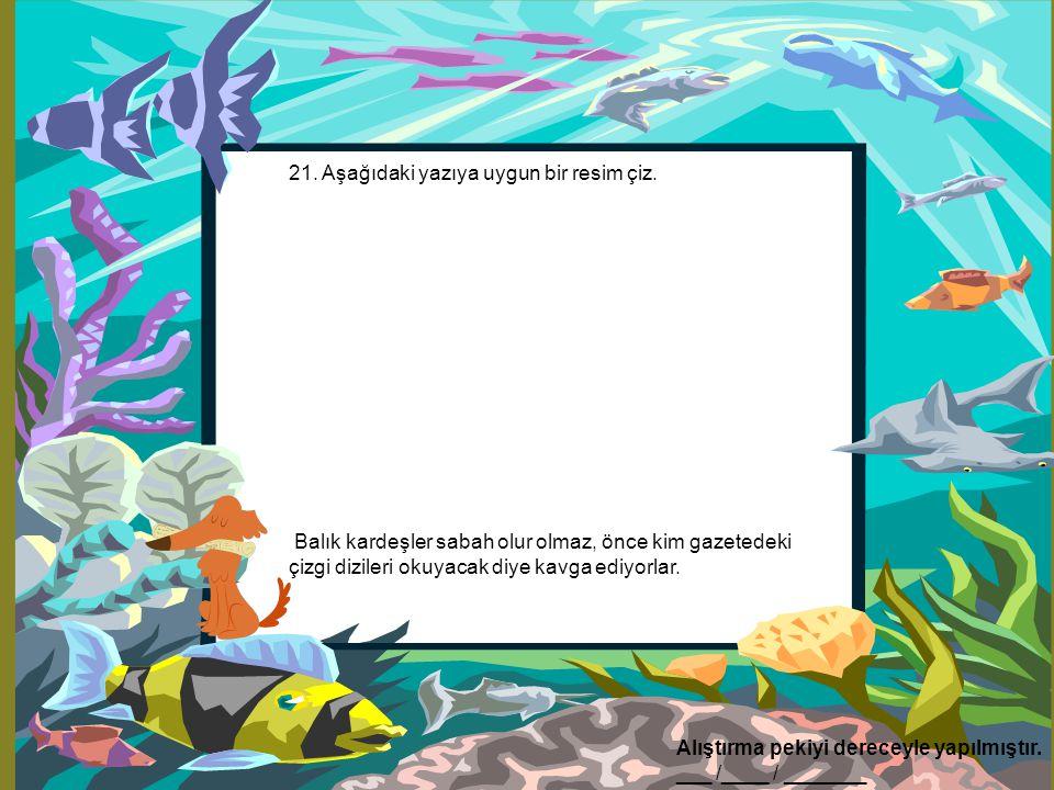 21. Aşağıdaki yazıya uygun bir resim çiz. Balık kardeşler sabah olur olmaz, önce kim gazetedeki çizgi dizileri okuyacak diye kavga ediyorlar. Alıştırm