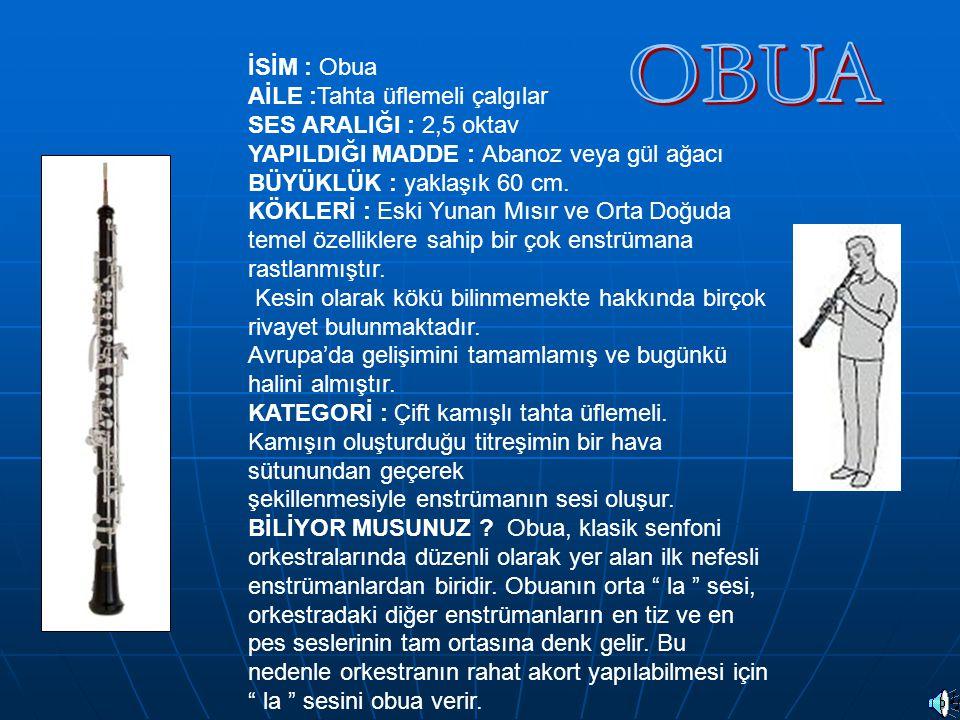 İSİM : Obua AİLE :Tahta üflemeli çalgılar SES ARALIĞI : 2,5 oktav YAPILDIĞI MADDE : Abanoz veya gül ağacı BÜYÜKLÜK : yaklaşık 60 cm. KÖKLERİ : Eski Yu