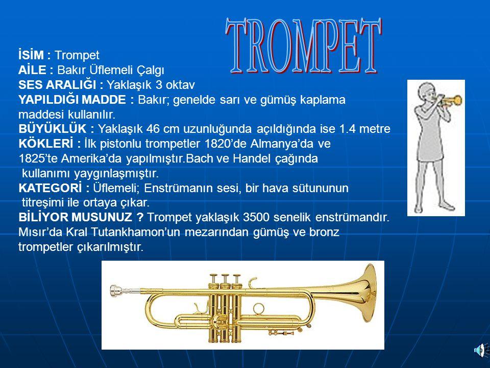 İSİM : Trompet AİLE : Bakır Üflemeli Çalgı SES ARALIĞI : Yaklaşık 3 oktav YAPILDIĞI MADDE : Bakır; genelde sarı ve gümüş kaplama maddesi kullanılır. B