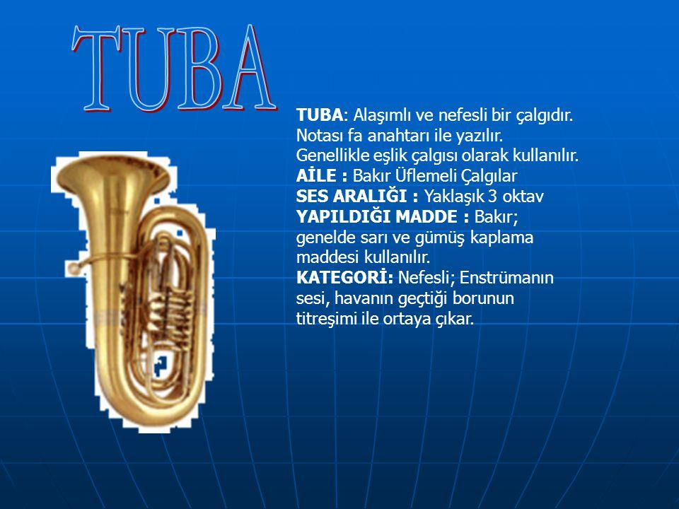 TUBA: Alaşımlı ve nefesli bir çalgıdır. Notası fa anahtarı ile yazılır. Genellikle eşlik çalgısı olarak kullanılır. AİLE : Bakır Üflemeli Çalgılar SES