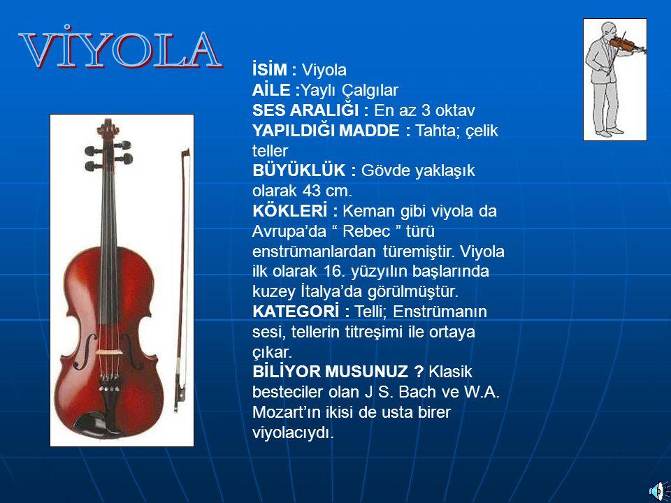 TUBA: Alaşımlı ve nefesli bir çalgıdır.Notası fa anahtarı ile yazılır.