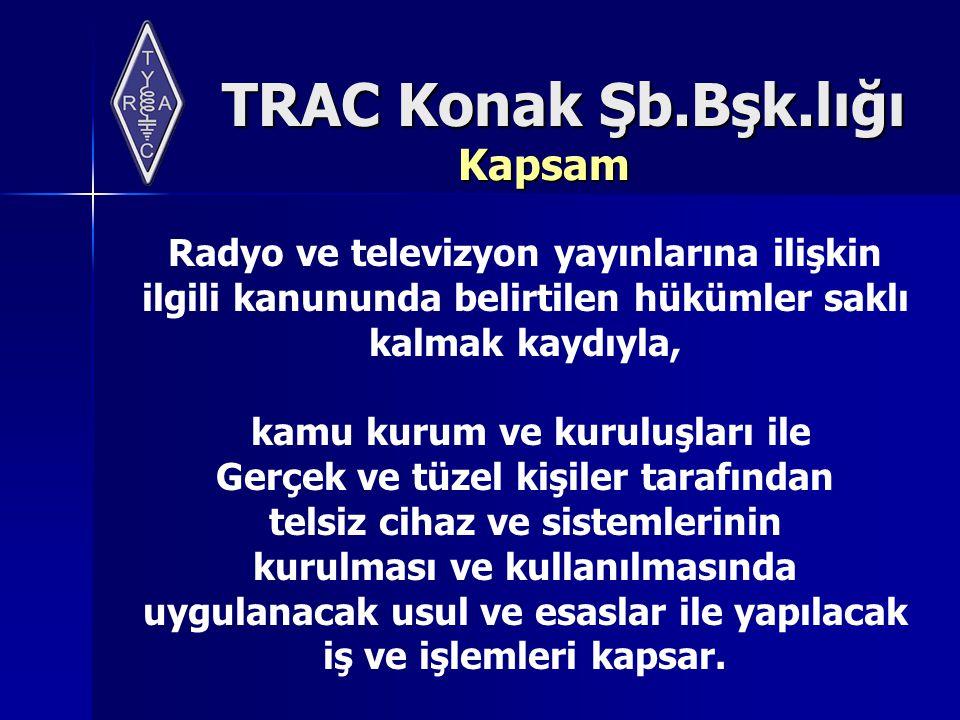 TRAC Konak Şb.Bşk.lığı Telsiz İşlemleri Geçici süreli kullanımlar Başvuru, kullanım yeri, amaç, talep edilen frekans ve kullanılacak cihazlar dikkate alınarak değerlendirilir.