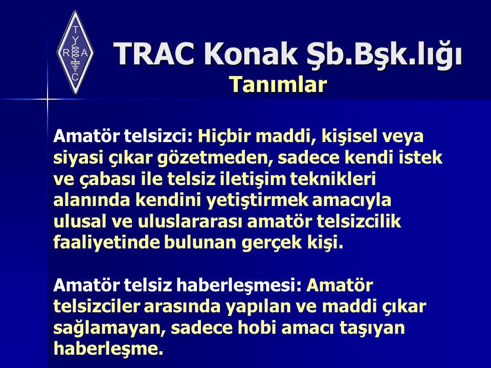 TRAC Konak Şb.Bşk.lığı Telsiz İşlemleri İptal İşlemleri Kurumdan izin almış bulunan telsiz cihaz ve sistemi kullanıcılarının,sistemlerini tamamen kullanımdan kaldırmaları ve bunu bir yazı ile Kuruma bildirmeleri veya telsiz cihaz ve sisteminin kaldırıldığının Kurum tarafından tespiti halinde; verilen telsiz cihaz ve sistemi kurma ve kullanma izni ve ruhsatları iptal edilir.