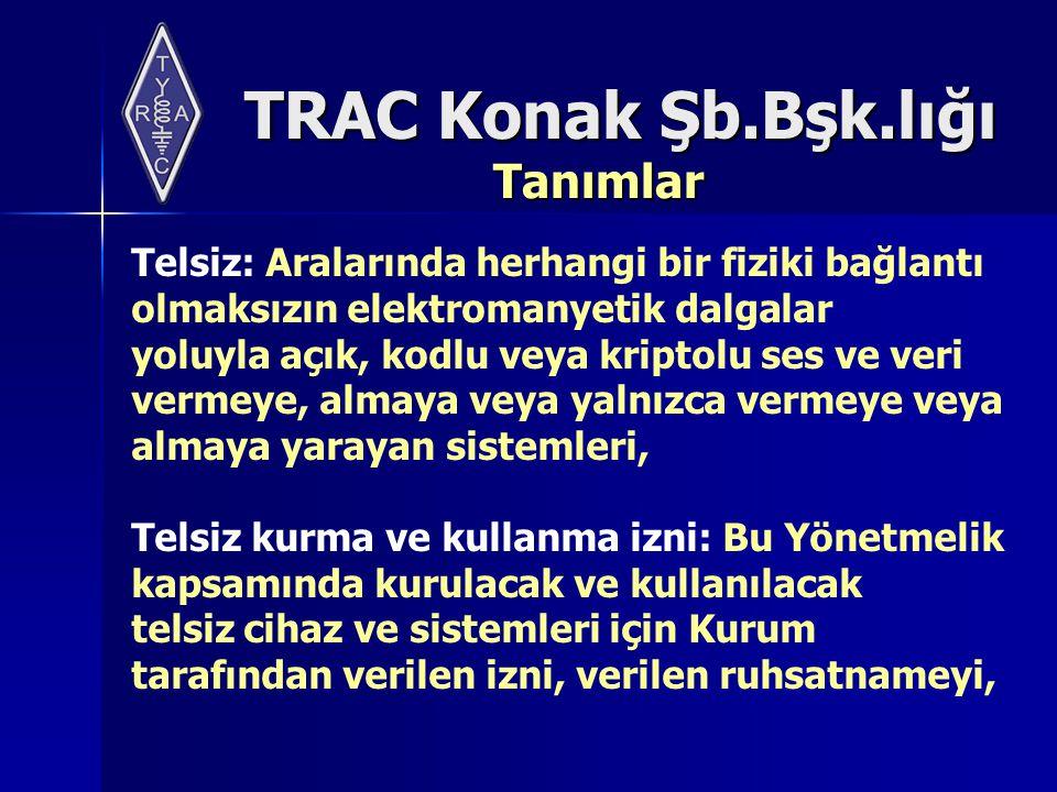 TRAC Konak Şb.Bşk.lığı Tanımlar Telsiz ruhsatnamesi: Bu Yönetmelik kapsamında kurulacak ve kullanılacak telsiz cihaz ve sistemleri için Kurum tarafından verilen ruhsatnameyi,