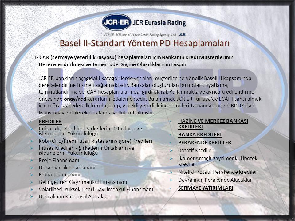 Basel II-Standart Yöntem PD Hesaplamaları I- CAR (sermaye yeterlilik rasyosu) hesaplamaları için Bankanın Kredi Müşterilerinin Derecelendirilmesi ve Temerrüde Düşme Olasılıklarının tespiti JCR ER bankların aşağıdaki kategorilerde yer alan müşterilerine yönelik Basell II kapsamında derecelendirme hizmeti sağlamaktadır.