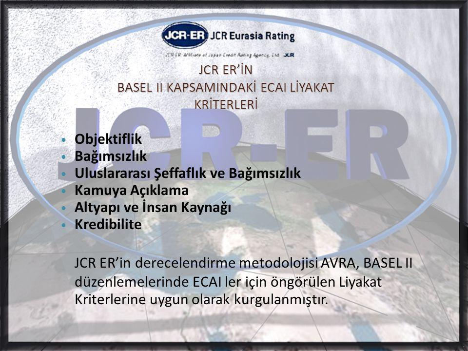 JCR ER'İN BASEL II KAPSAMINDAKİ ECAI LİYAKAT KRİTERLERİ • Objektiflik • Bağımsızlık • Uluslararası Şeffaflık ve Bağımsızlık • Kamuya Açıklama • Altyapı ve İnsan Kaynağı • Kredibilite JCR ER'in derecelendirme metodolojisi AVRA, BASEL II düzenlemelerinde ECAI ler için öngörülen Liyakat Kriterlerine uygun olarak kurgulanmıştır.
