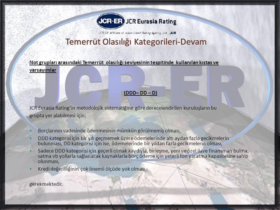 Temerrüt Olasılığı Kategorileri-Devam Not grupları arasındaki Temerrüt olasılığı seviyesinin tespitinde kullanılan kıstas ve varsayımlar (DDD– DD – D) JCR Eurasia Rating'in metodolojik sistematiğine göre derecelendirilen kuruluşların bu grupta yer alabilmesi için;  Borçlarının vadesinde ödenmesinin mümkün görülmemiş olması,  DDD kategorisi için bir yılı geçmemek üzere ödemelerinde altı aydan fazla gecikmelerin bulunması, DD kategorisi için ise, ödemelerinde bir yıldan fazla gecikmelerin olması,  Sadece DDD kategorisi için geçerli olmak kaydıyla, birleşme, yeni ve özel ilave finansman bulma, satma vb yollarla sağlanacak kaynaklarla borç ödeme için yeterli fon yaratma kapasitesine sahip olunması,  Kredi değerliliğinin çok önemli ölçüde yok olması, gerekmektedir.