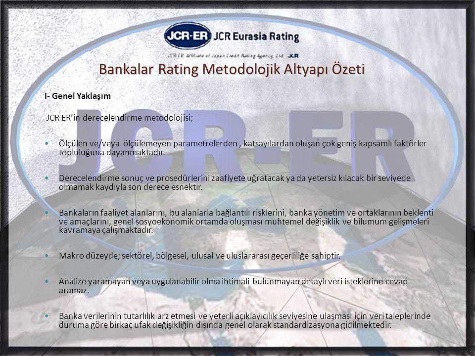 Bankalar Rating Metodolojik Altyapı Özeti I- Genel Yaklaşım JCR ER'in derecelendirme metodolojisi;  Ölçülen ve/veya ölçülemeyen parametrelerden, katsayılardan oluşan çok geniş kapsamlı faktörler topluluğuna dayanmaktadır.