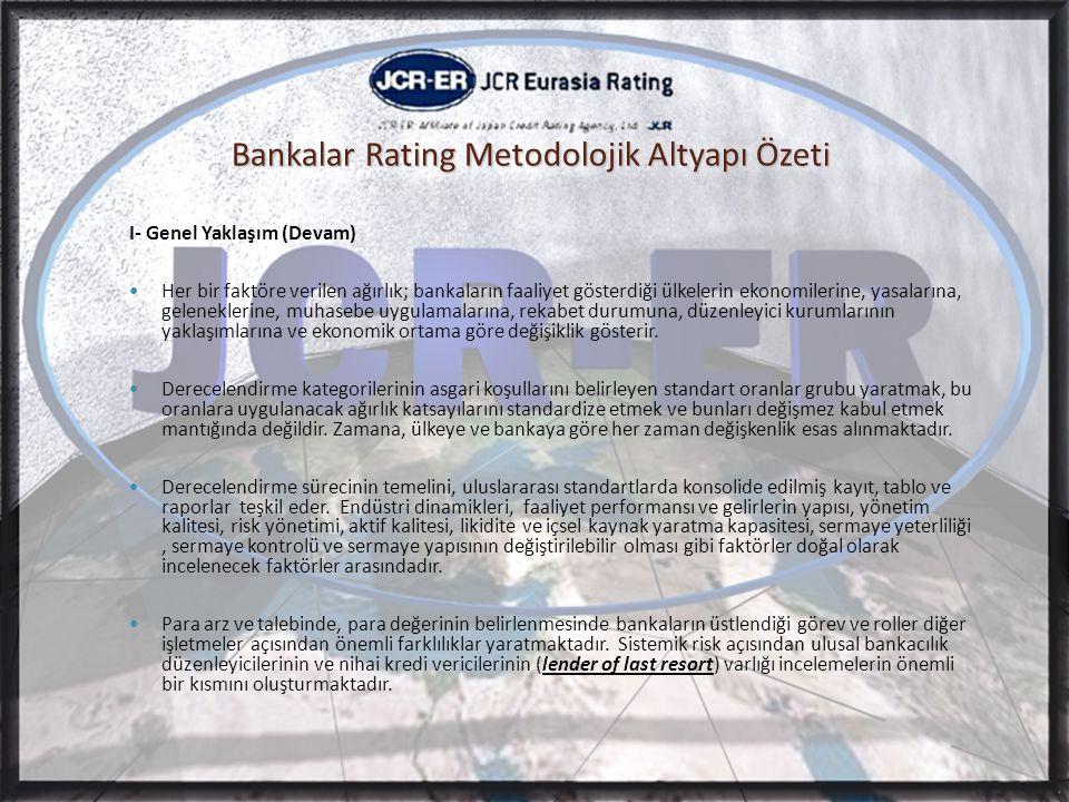 Bankalar Rating Metodolojik Altyapı Özeti I- Genel Yaklaşım (Devam)  Her bir faktöre verilen ağırlık; bankaların faaliyet gösterdiği ülkelerin ekonomilerine, yasalarına, geleneklerine, muhasebe uygulamalarına, rekabet durumuna, düzenleyici kurumlarının yaklaşımlarına ve ekonomik ortama göre değişiklik gösterir.