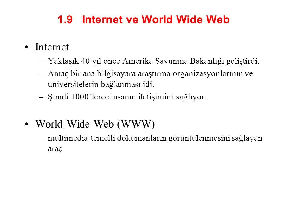 1.9 Internet ve World Wide Web •Internet –Yaklaşık 40 yıl önce Amerika Savunma Bakanlığı geliştirdi.