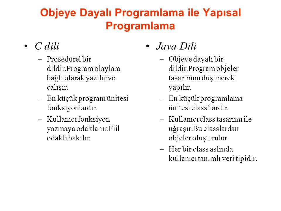 Objeye Dayalı Programlama ile Yapısal Programlama •C dili –Prosedürel bir dildir.Program olaylara bağlı olarak yazılır ve çalışır.