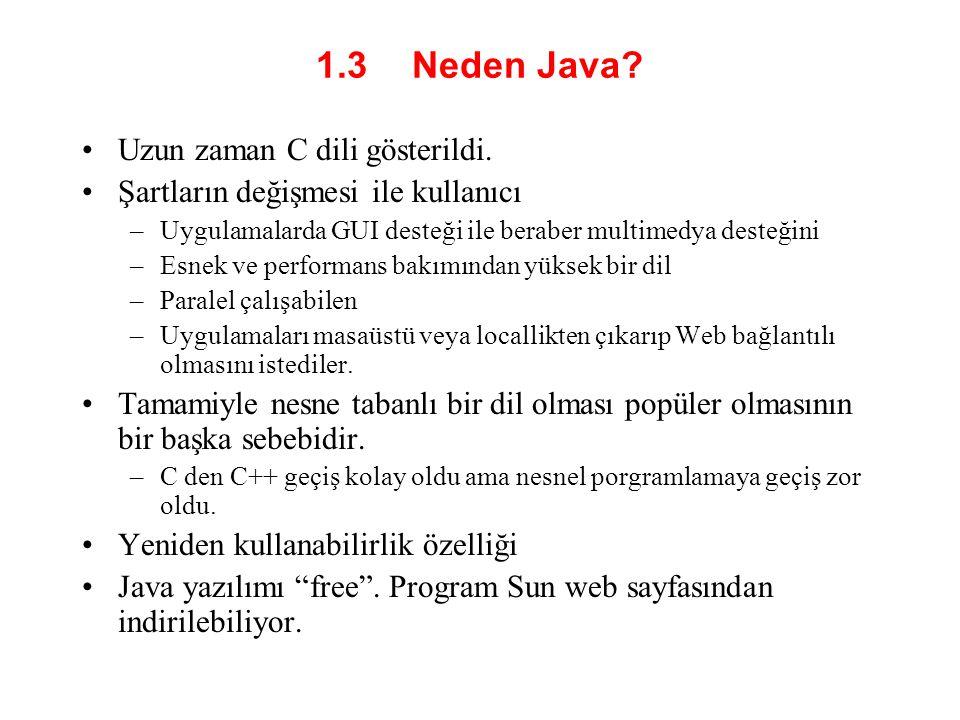 1.3 Neden Java.•Uzun zaman C dili gösterildi.