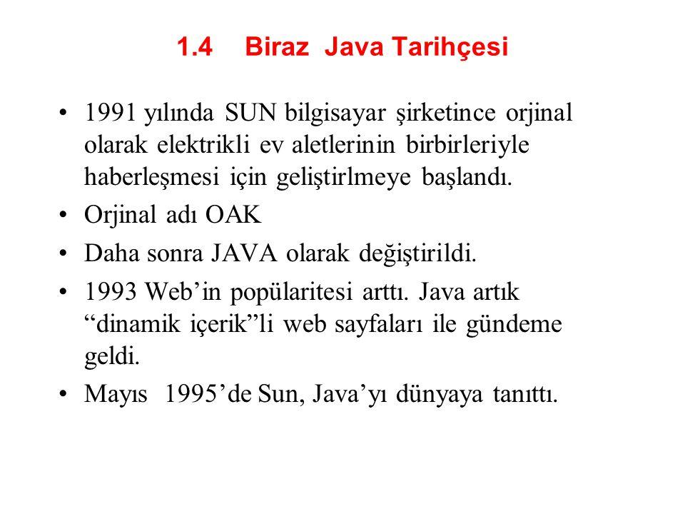 1.4 Biraz Java Tarihçesi •1991 yılında SUN bilgisayar şirketince orjinal olarak elektrikli ev aletlerinin birbirleriyle haberleşmesi için geliştirlmeye başlandı.