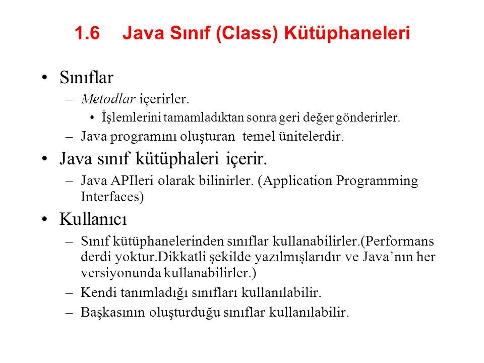 1.6 Java Sınıf (Class) Kütüphaneleri •Sınıflar –Metodlar içerirler.