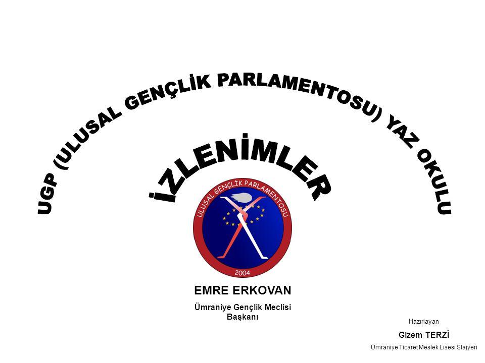 1.Gün •Kent konseyi gençlik meclisi üyeleri ile tanışma •Ulusal gençlik parlamentosu bilgilendirme toplantıları •Türkiye'deki gençlik meclislerinden oluşan UGP'nin gençlik meclislerine katkıları,yaptıkları eğitim ve projeler •Yerel Demokrasi Akademileri, •Yerel Gündem 21 Gençlik Çalışmaları, •Bilenler Bilmeyenlere Bilgisayar Öğretiyor, •Bilişimde Genç Hareket